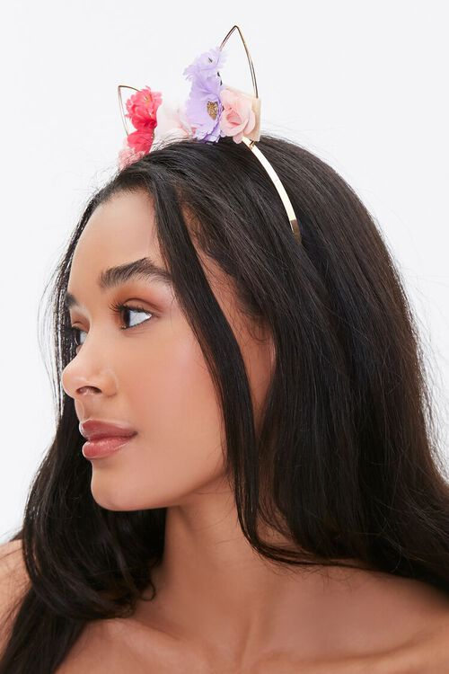 Floral Cat Ear Headband, image 2