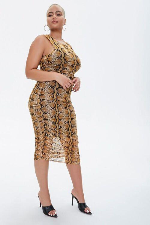 MUSTARD/MULTI Plus Size Snake Print Dress, image 1