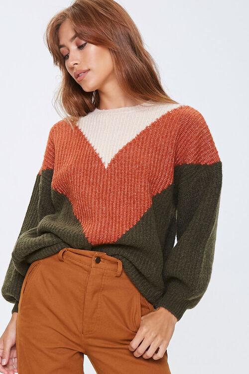 Colorblock Chevron Sweater, image 1