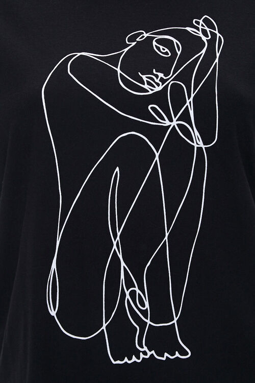 Plus Size Line Art Graphic Tee, image 3