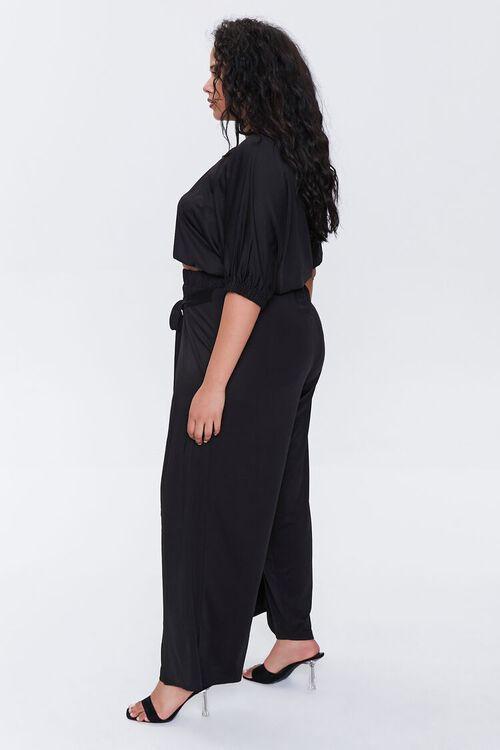 BLACK Plus Size Crop Top & Pants Set, image 3