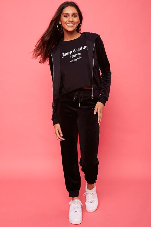 BLACK/SILVER Juicy Couture Velour Zip-Up Jacket, image 1