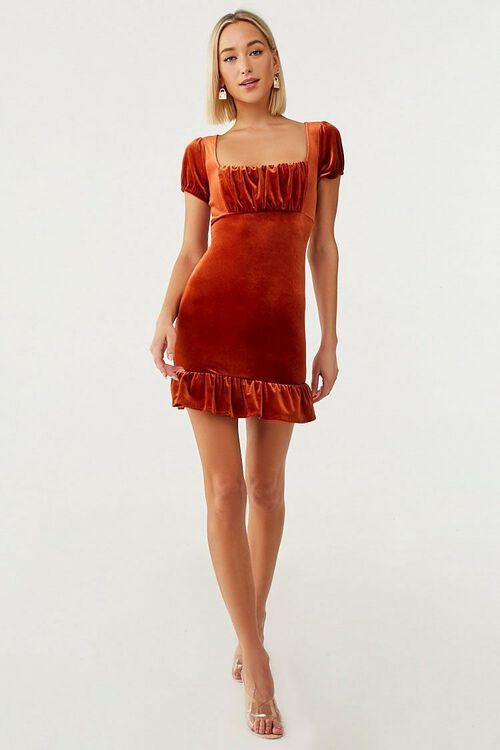 Velvet Short Sleeve Mini Dress, image 4