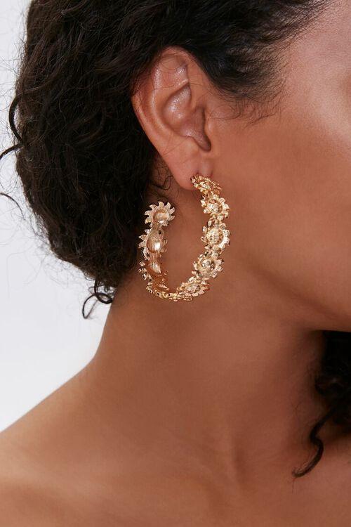 Sun Pendant Hoop Earrings, image 1
