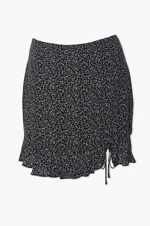 Plus Size Floral Self-Tie Mini Skirt, image 1