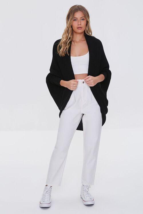 BLACK Ribbed Open-Front Cardigan Sweater, image 4