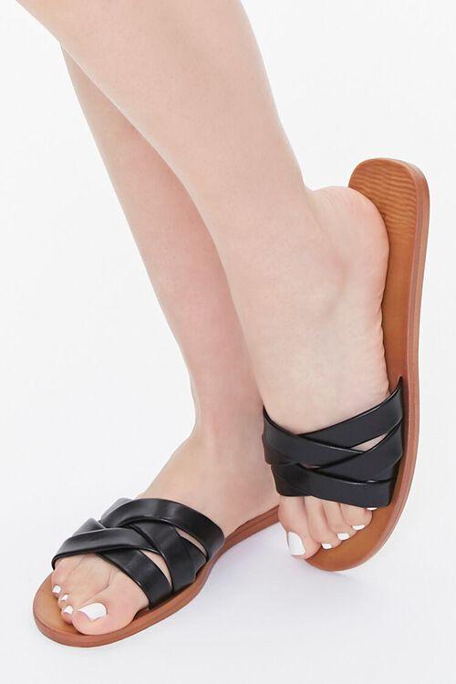 Faux Leather Crisscross Flat Sandals, image 1