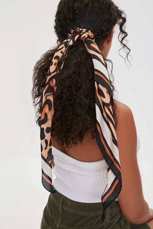 Banded Leopard Print Bow Scrunchie, image 2