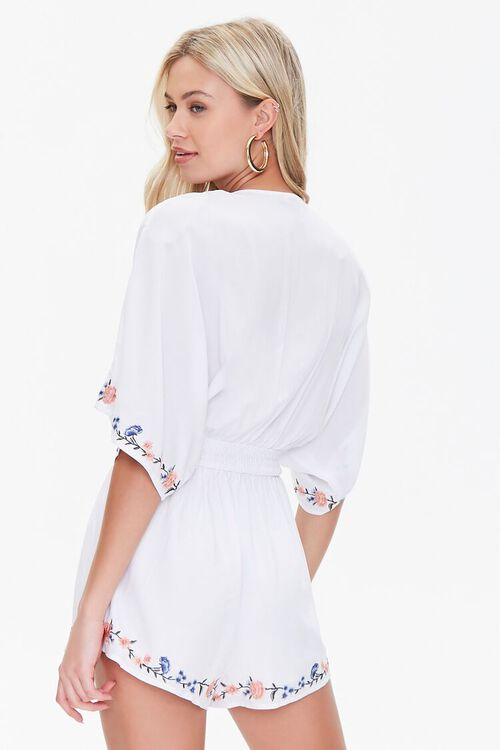 Floral Embroidered Tie-Front Romper, image 3