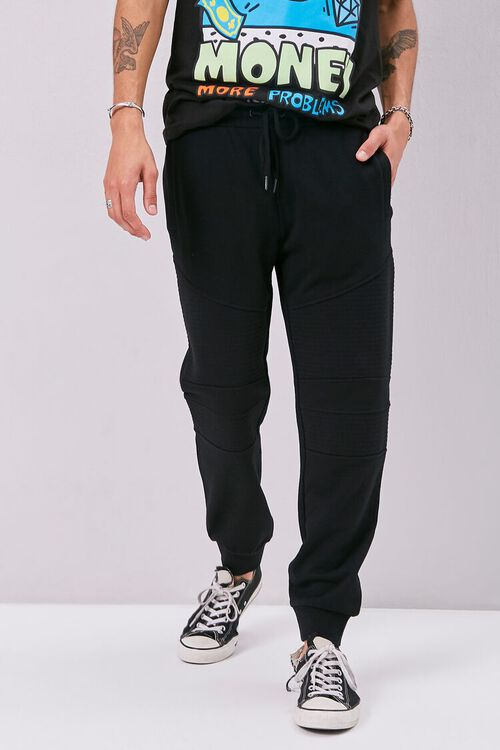 French Terry Drawstring Moto Joggers, image 2