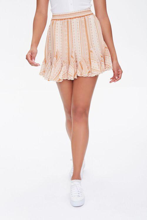 Ornate Print Godet Mini Skirt, image 2