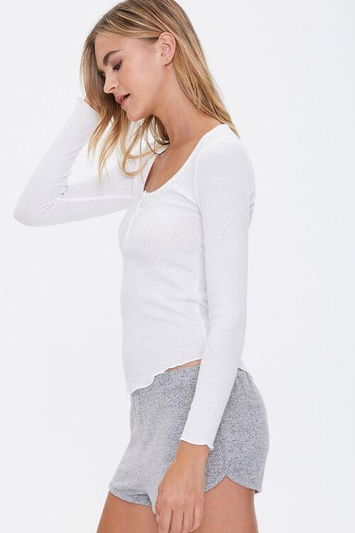 Ribbed Knit Henley Pajama Top, image 2