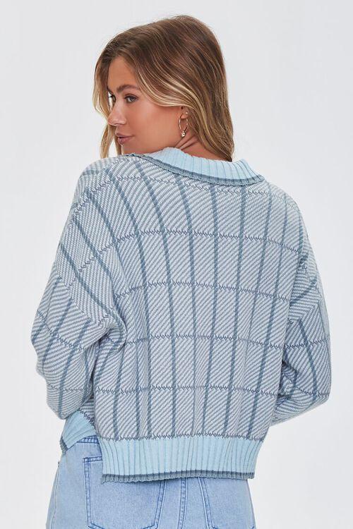 MINT/MULTI Split-Neck Plaid Sweater, image 3