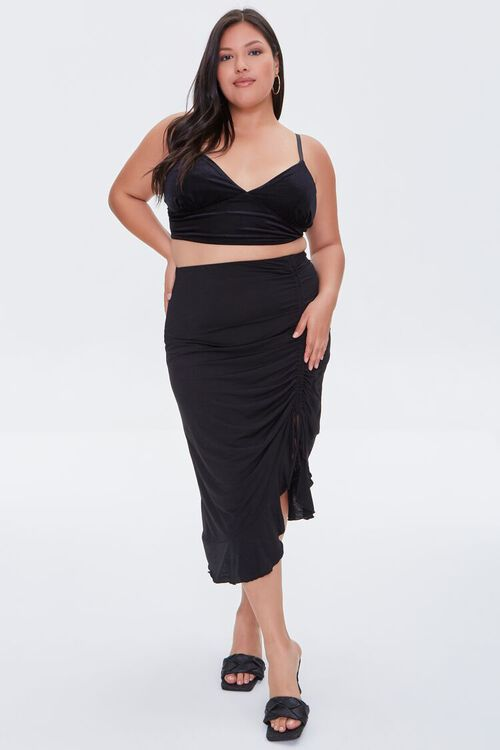 Plus Size Ruched Drawstring Midi Skirt, image 5