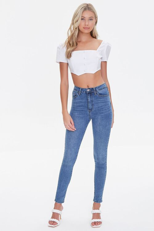 Smocked Button-Front Crop Top, image 4