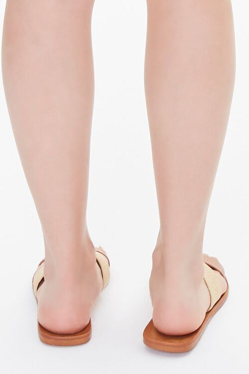 Faux Straw Basketwoven Flat Sandals, image 3
