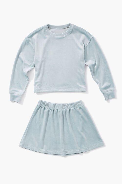 BLUE Girls Velvet Tee & Skirt Set (Kids), image 1