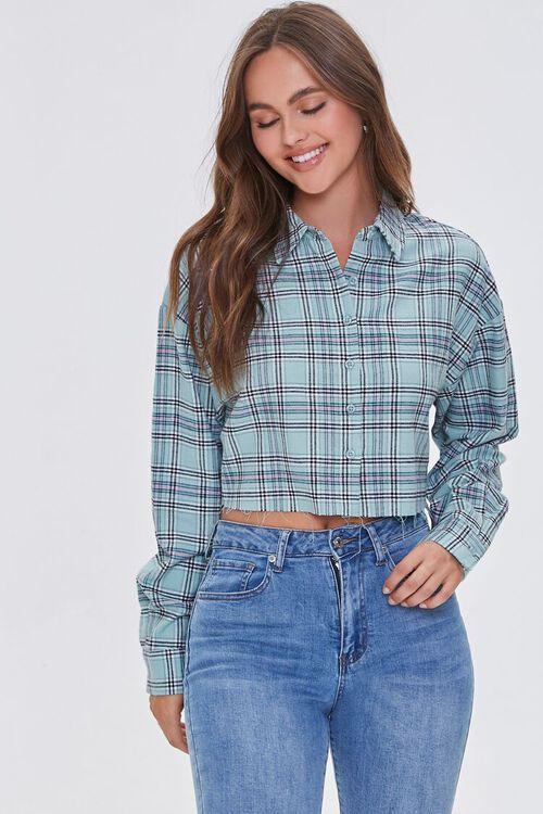 Raw-Cut Cropped Plaid Shirt, image 1