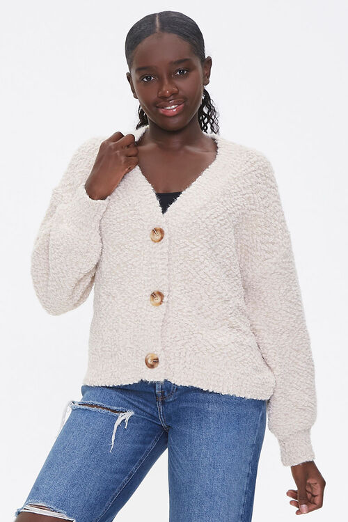 Boucle Button-Front Cardigan, image 1