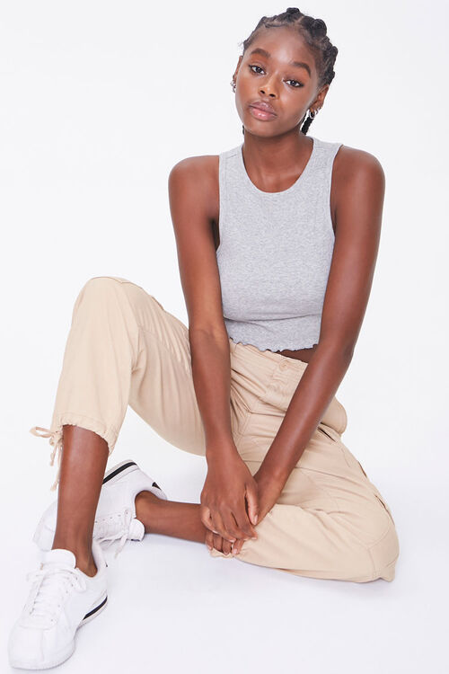 Ribbed Lettuce-Edge Cropped Tank Top, image 1