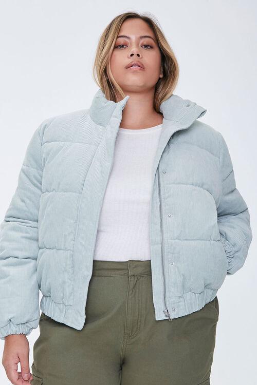 Plus Size Corduroy Puffer Jacket, image 5