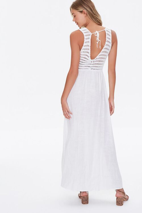 WHITE Gauze & Open-Knit Combo Dress, image 3