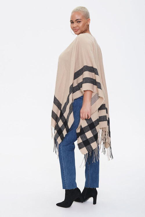 Plus Size Striped Fringe Poncho, image 2