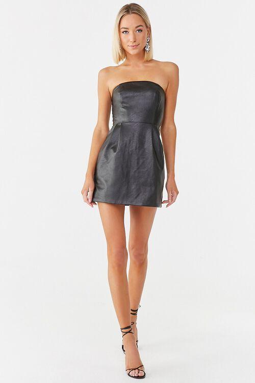 Faux Leather Mini Dress, image 4
