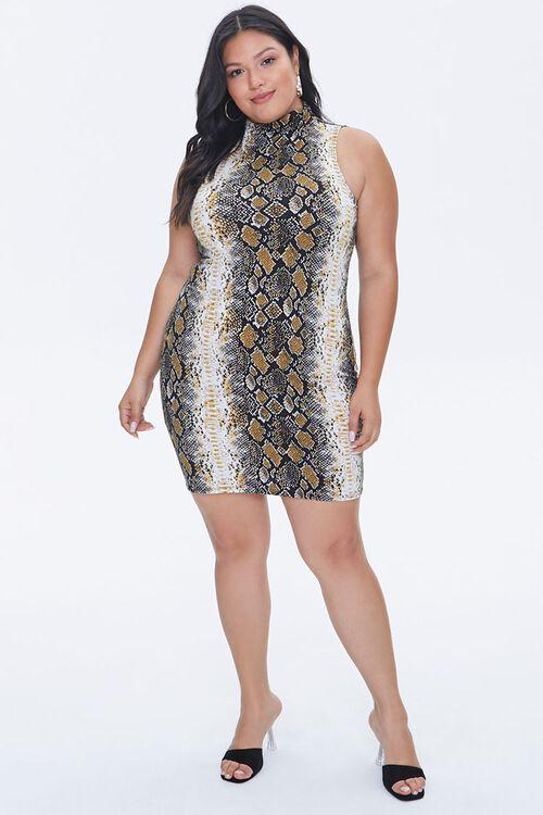Plus Size Snake Print Mini Dress, image 4