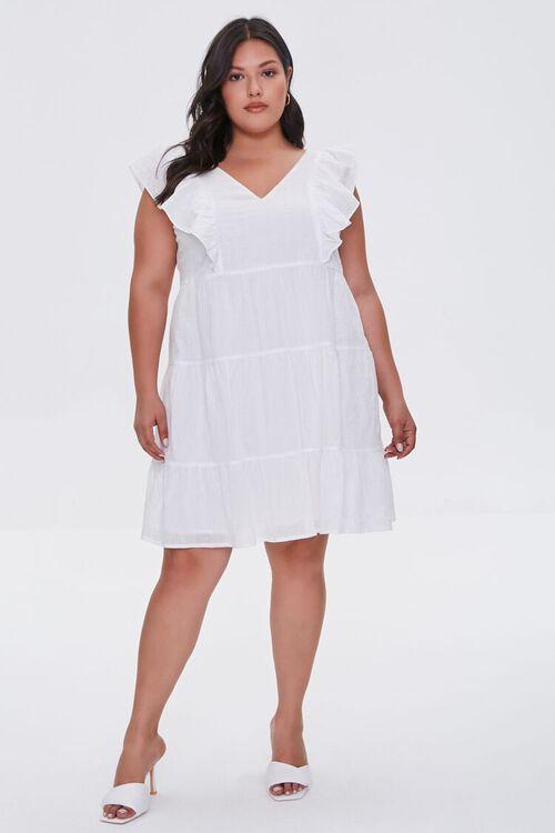Plus Size Ruffle-Trim Mini Dress, image 4