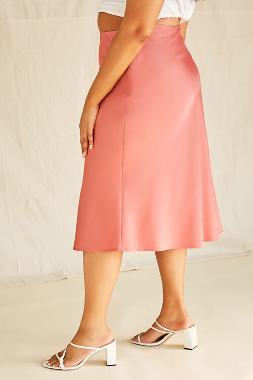 Plus Size Satin Midi Skirt, image 2