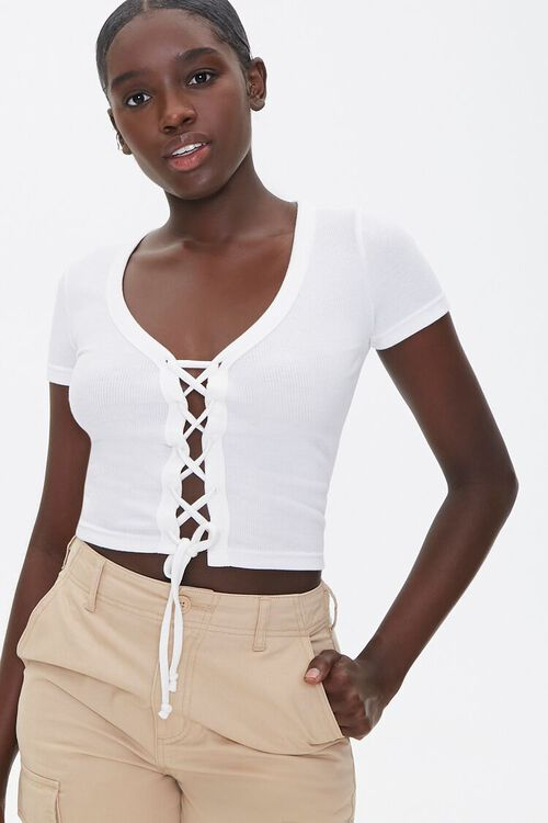 Ribbed Lace-Up Tee, image 1