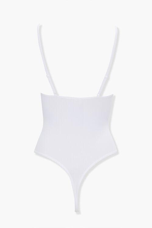 WHITE Seamless Cami Thong Bodysuit, image 3