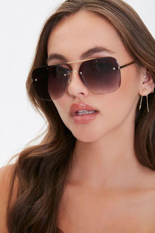 Rimless Metal Aviator Sunglasses, image 1