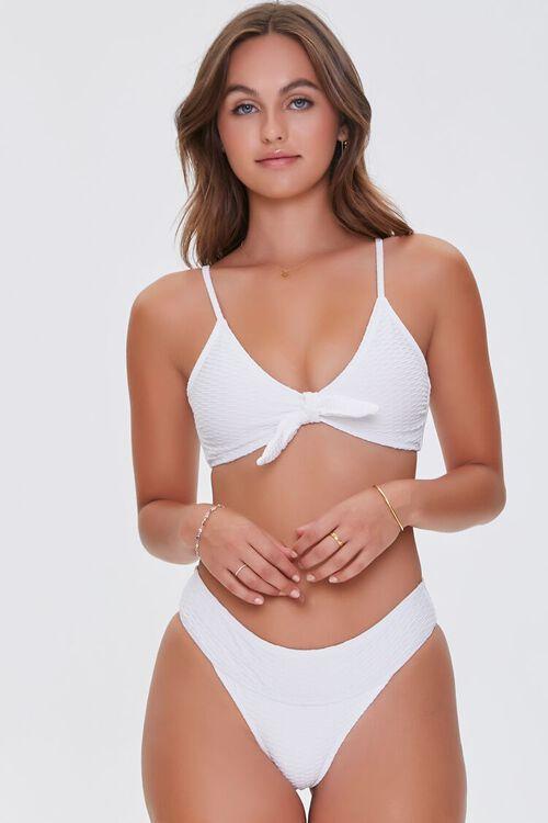 Knotted Textured Bikini Bottoms, image 1