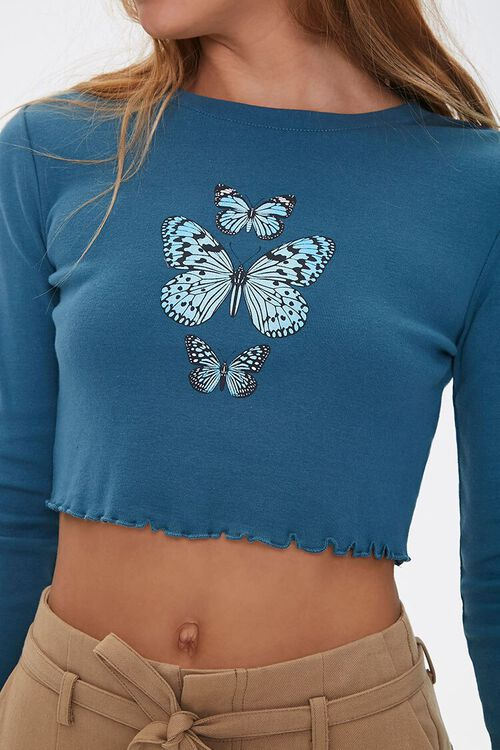 Lettuce-Edge Butterfly Crop Top, image 5