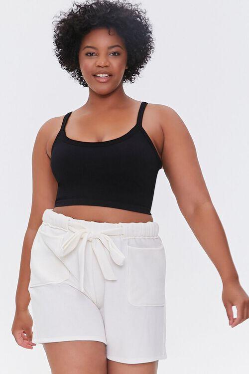Plus Size Fleece Tie-Waist Shorts, image 1