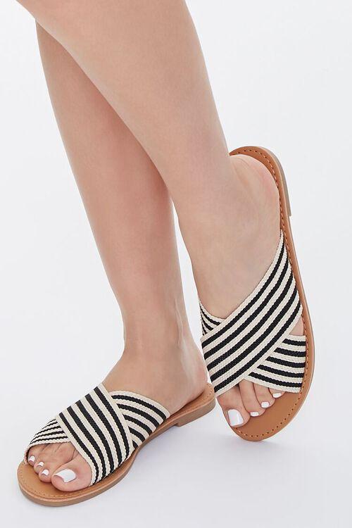 Striped Crisscross Vamp Sandals, image 1