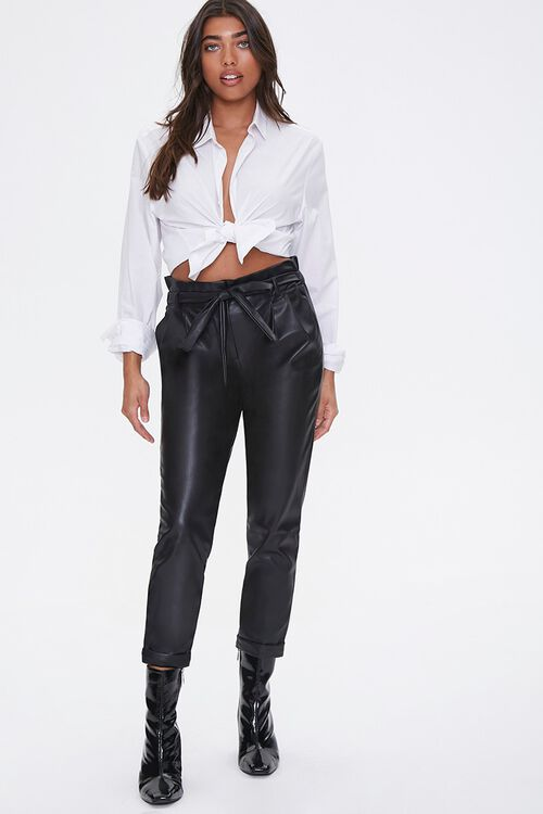 Faux Leather Paperbag Pants, image 1