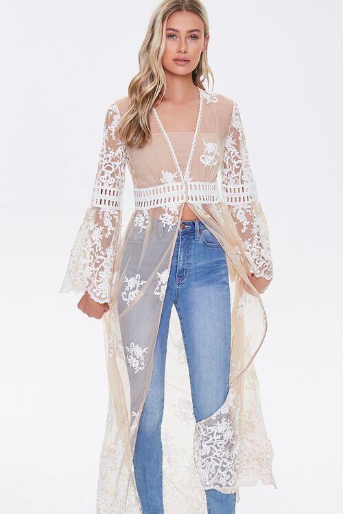 Sheer Embroidered Longline Kimono, image 1