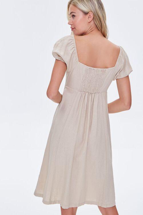 KHAKI Buttoned Puff-Sleeve Dress, image 3