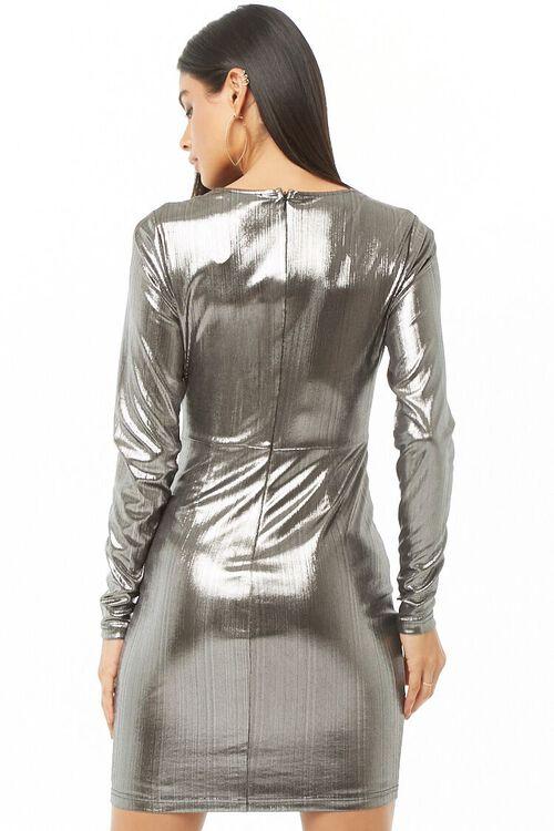 Twist-Front Metallic Homecoming Dress, image 3
