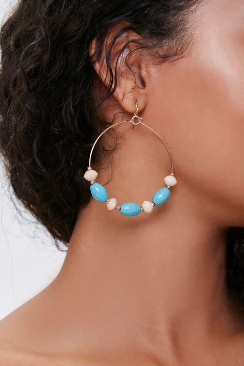 Beaded Faux Turquoise Hoop Earrings, image 1