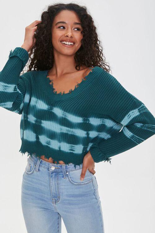 TEAL/BLUE Sharkbite Tie-Dye Sweater, image 1