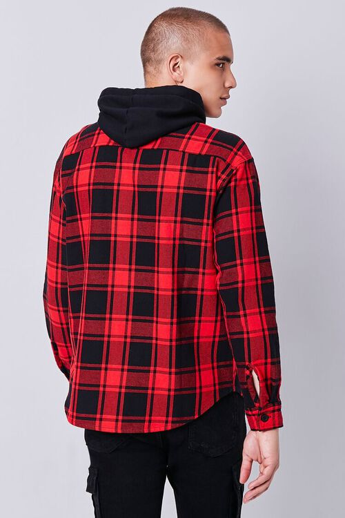 Plaid Buttoned Flannel Hoodie, image 3