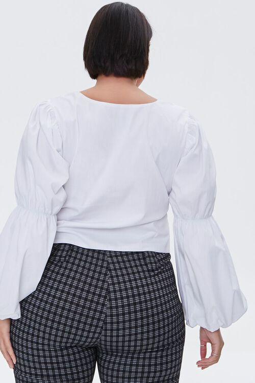 Plus Size Poplin Gathered-Sleeve Top, image 4