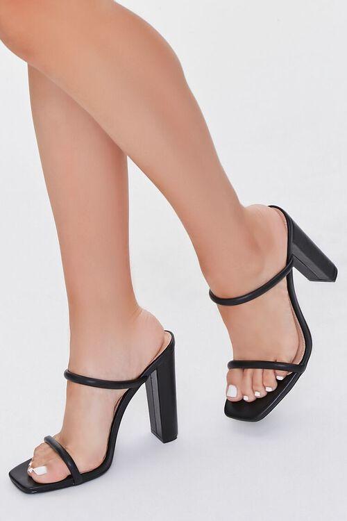 BLACK Faux Leather Block Heels, image 1