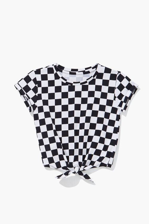 Girls Checkered Print Knotted Tee (Kids), image 1