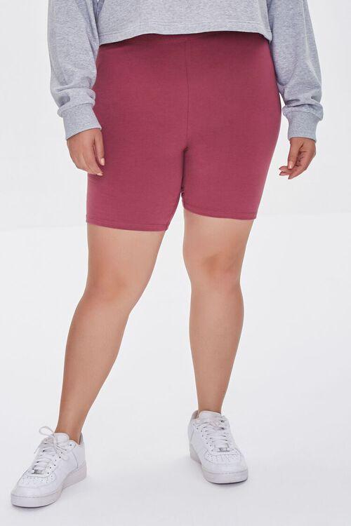 Plus Size Organically Grown Cotton Basic Biker Shorts, image 2