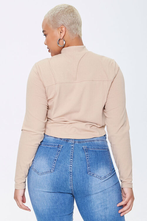 Plus Size Ribbed Knit Crop Top, image 3